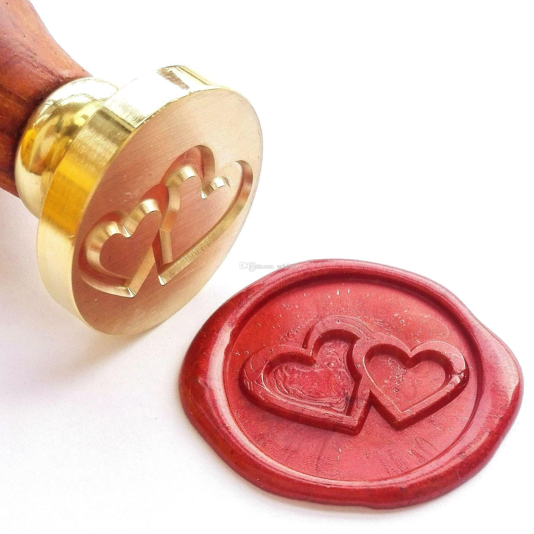 Vintage Two Hearts Wedding Invitation Wax Seal Stamp Wax Seal Stamp ...