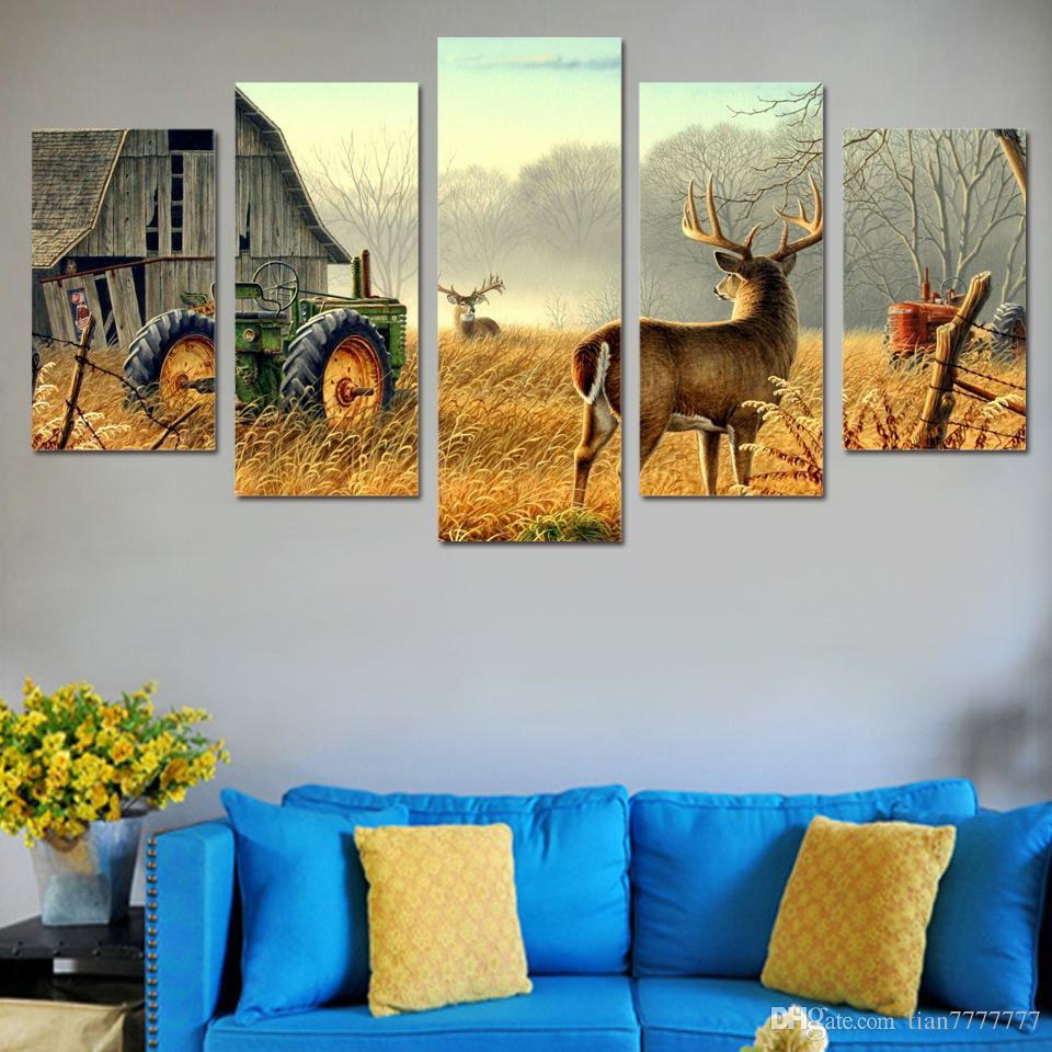 Мода украшения дома стены искусства фотографии для спальни 5 панель олень природные пейзажи картины холст печать стены плакат фотографии без рамки