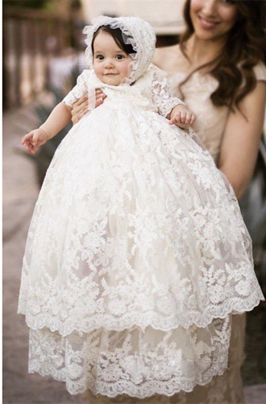 جودة عالية ثوب التعميد الطفلات التعميد ثوب الدانتيل الأبيض زين رداء طفل مع بونيه 0-24month