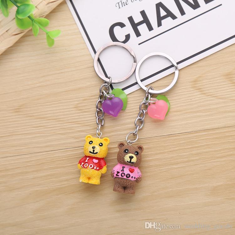 Good A++ Cartoon cute color love resin animal bear key pendant key ring KR120 Keychains a