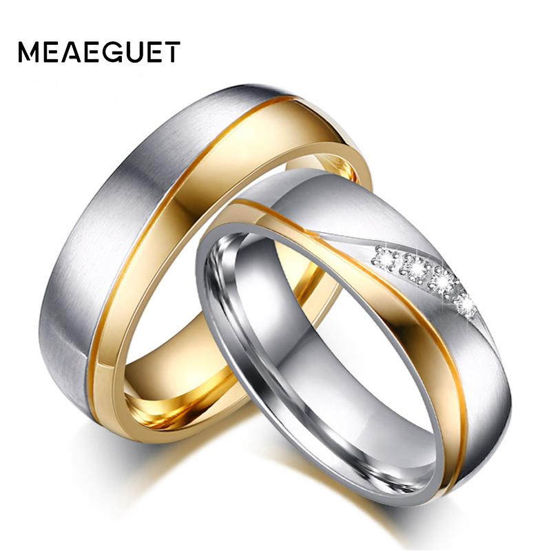 gold item engagement lover romantic wedding from rings couple color for stainless party jewelry in steel bands