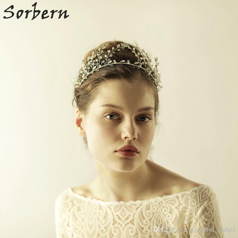 Sorbern Shiny Crystal Headbands Bridal Pearl Hair Comb Wedding White Flower Headband  Prom Hair Ornaments Women Jewelry Hair Accessories Veils Wedding ... 4d7c37d8e67
