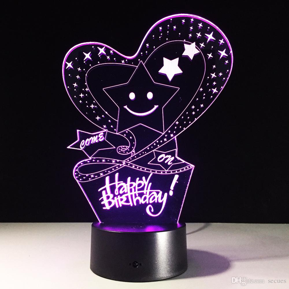 2019 2017 Happy Birthday 3D Illusion Night Lamp 3D Optical