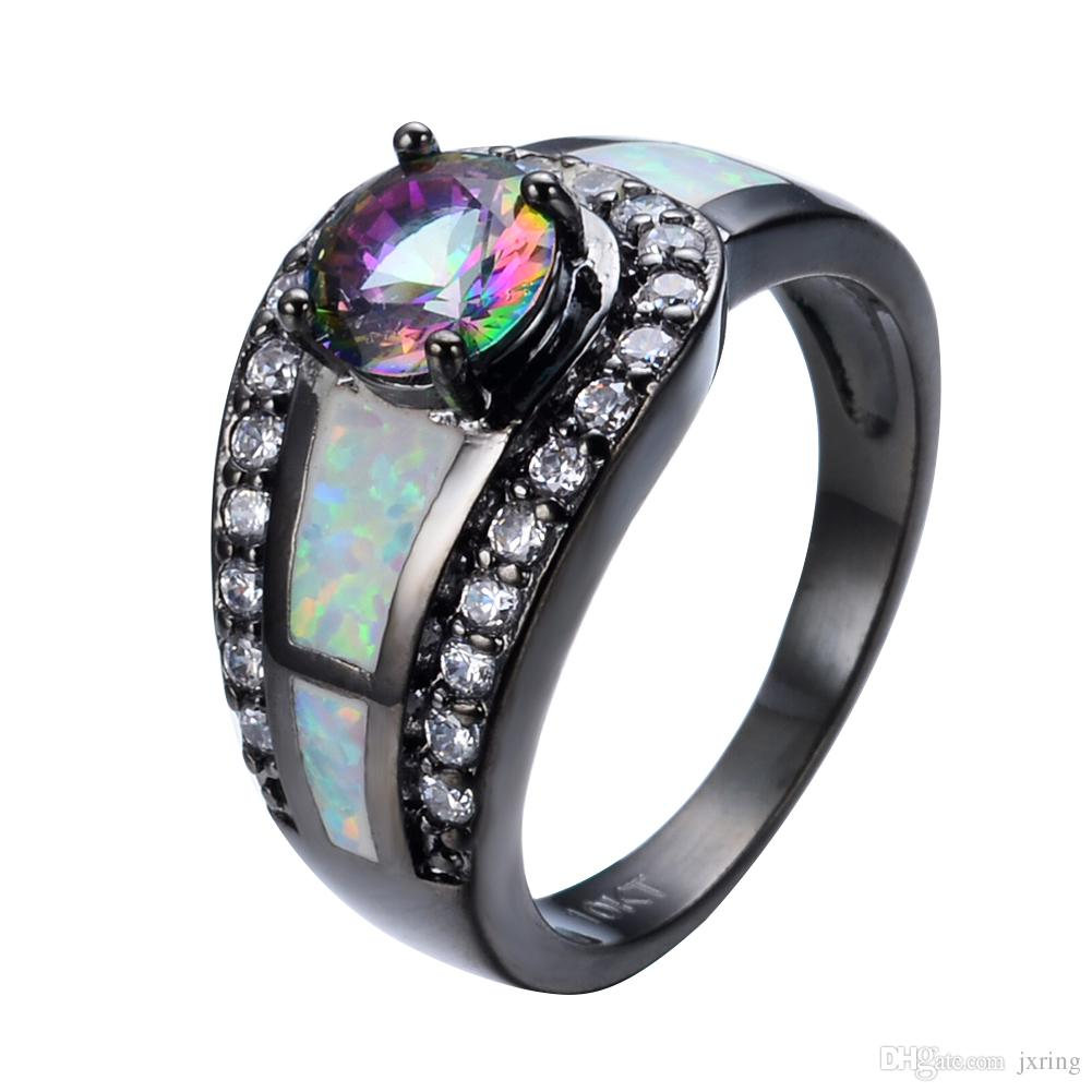 2018 Rainbow Ball Female Opal Ring Black Gold Filled Jewelry Natural