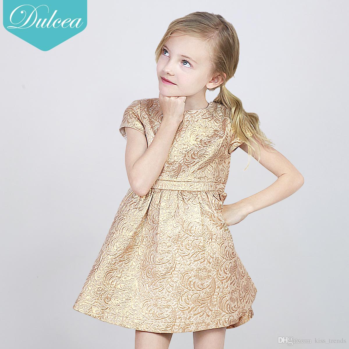 2018 dulcea hot sale cute baby girl gold dress tutu jacquard skirt