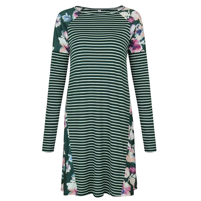 Fashion floral printed dress striped casual shirt dress for autumn or winter size S to XL round neck long sleeve ML-8726