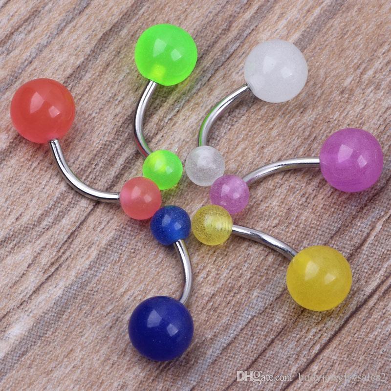 هيئة المجوهرات b14 100 قطعة / الوحدة مختلطة 6 لون 14 جرام البلاستيك بطن الموز الدائري ، السرة زر الدائري هيئة ثقب المجوهرات توهج في الظلام