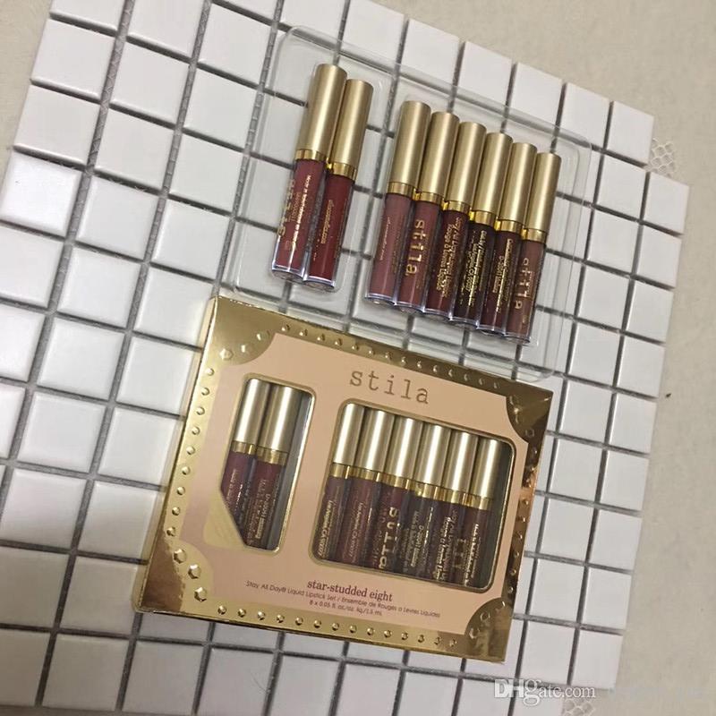 New Stila Star-borchiato Eight Stay All Days Rossetto liquido set 8 pz / scatola Long Lasting Creamy Shimmer Liquid Lipstick Lip Gloss
