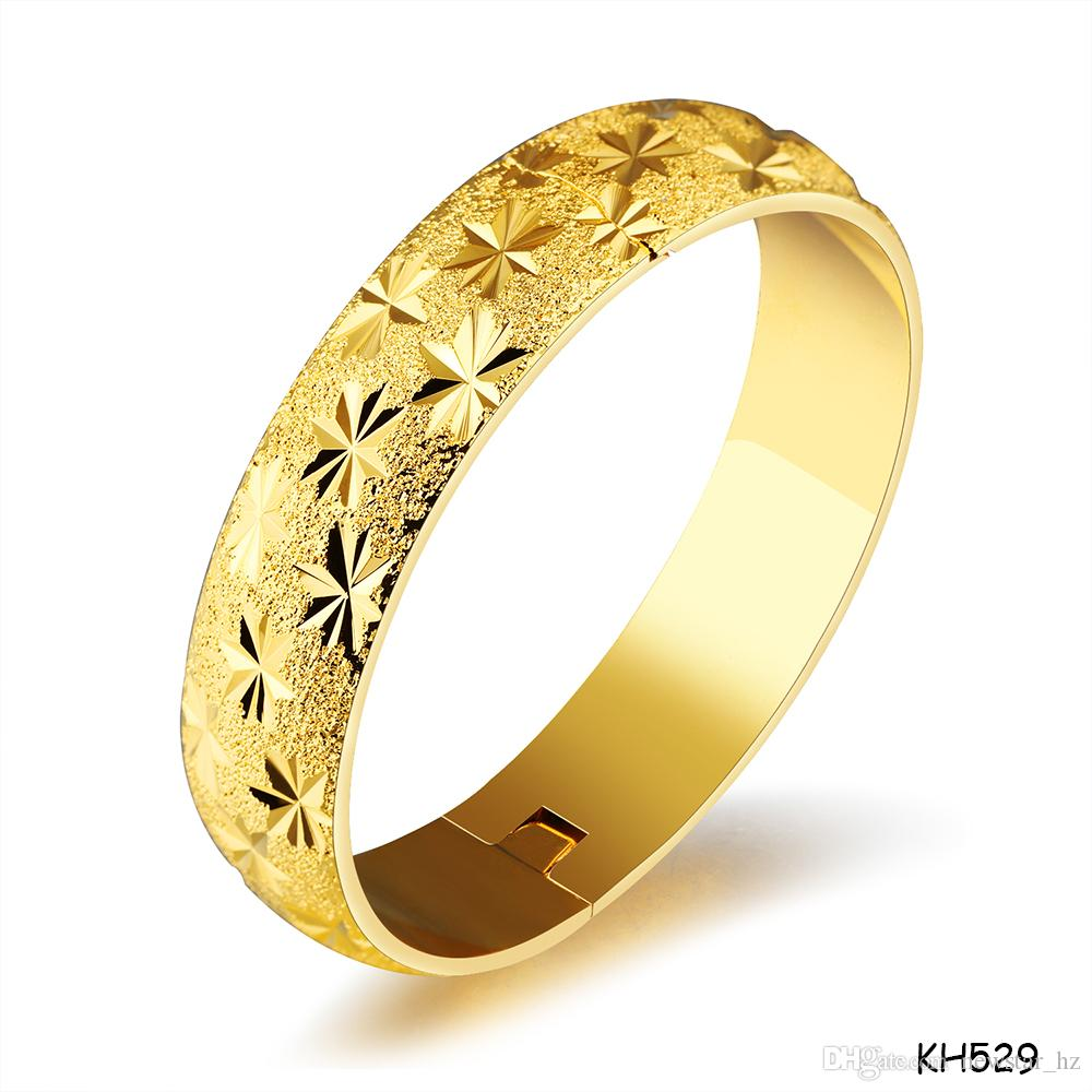 Femmes en or plaqué bracelet manchette parti Costume Bijoux 18K plaqué or bracelet de cuivre Bracelet cadeaux pour la mariée