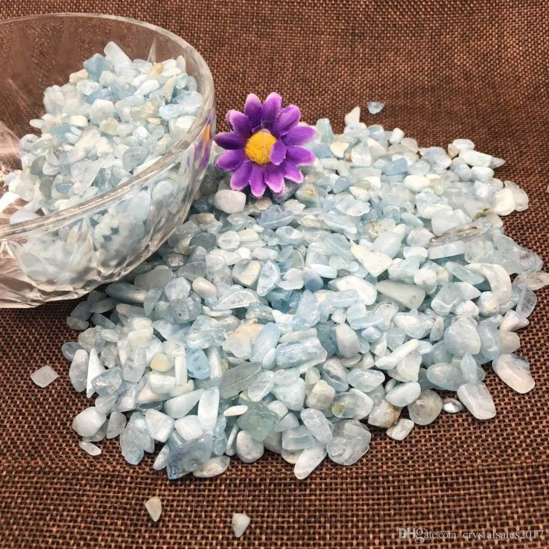1 Bag 100 g Natural aquamarine quartz Stone crystal Tumbled Stone Irregular Size: 5--20 mm, Color: blue