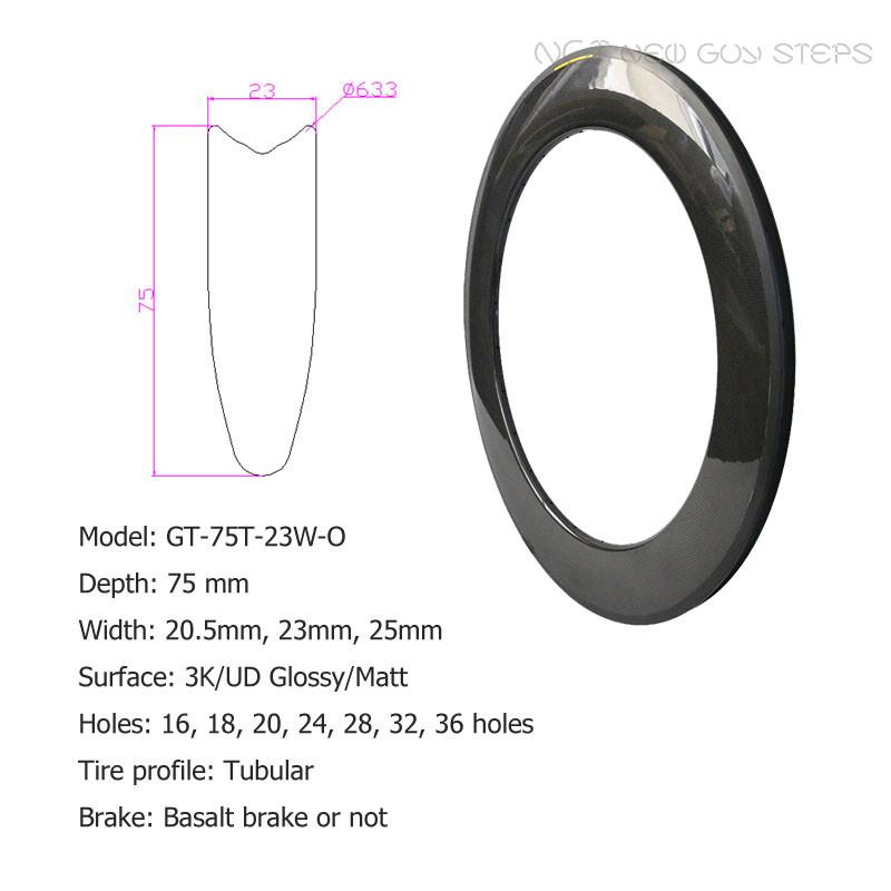 Full Carbon Bicycle Rims Tubular Tire Profile 3K or UD Glossy or Matte Surface Top Quality Custom Holes Bike Wheel