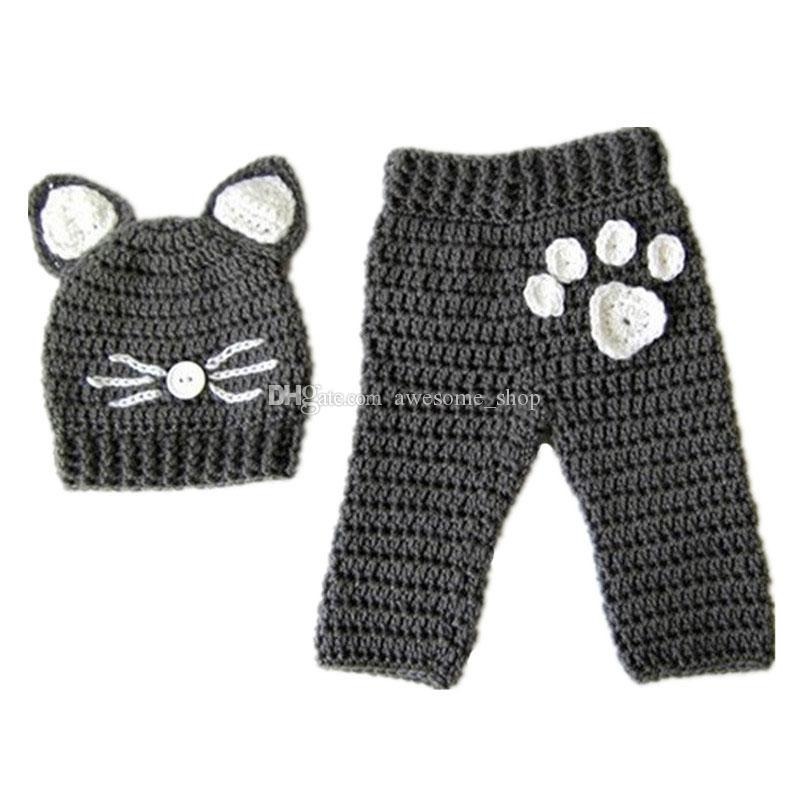 Acheter Newborn Kitty Cat Tenue, Fait À La Main Au Crochet Bébé Garçon  Fille Chat Chapeau Ensemble De Pantalon, Infantile Animal Halloween  Costume, ... 22776b9e4e3