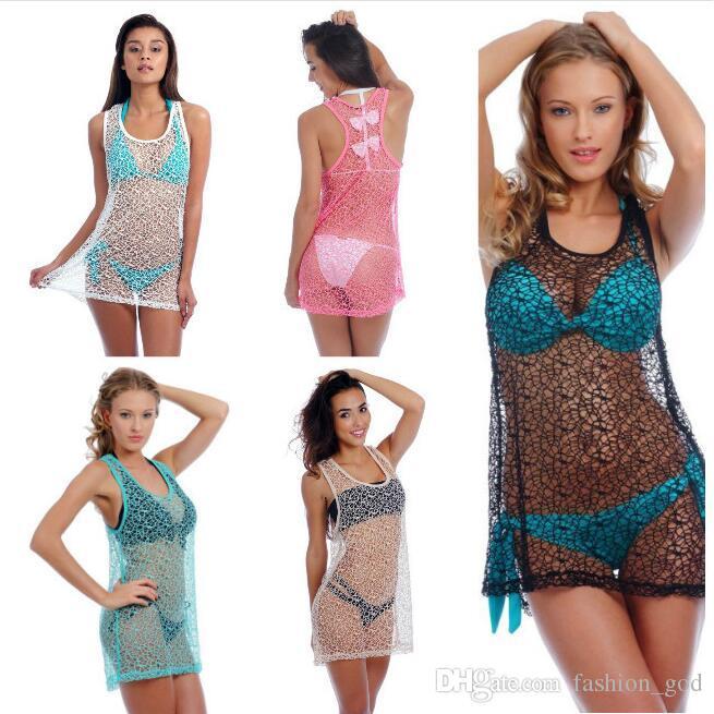 6879187bd2894 Beach Blouse Vest Smock Bikini Cover Ups Women Loose Beach Dress Sunscreen Beachwear  Sexy Swimwear Casual Swimsuit Summer Sundress Tops D523 Womens Sun ...
