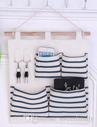 Useful Sundry Cotton Linen Wall Hanging Organizer Bag Multi-layer Holder Storage Bag Pouch Home Decoration