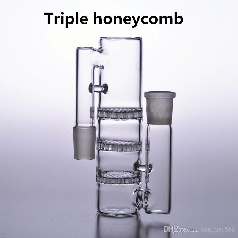 "17"" tall big water bongs 18mm recycler oil rigs dab bubbler triple honeycomb perc smoking glass pipes bowl ash catcher 18.8mm"
