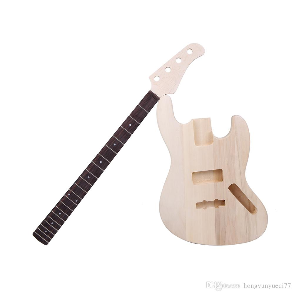 Bass Style 4-string Electric Bass Solid Basswood Body Maple Neck Rosewood Fingerboard Diy Kit Set Top Class Material Stringed Instruments