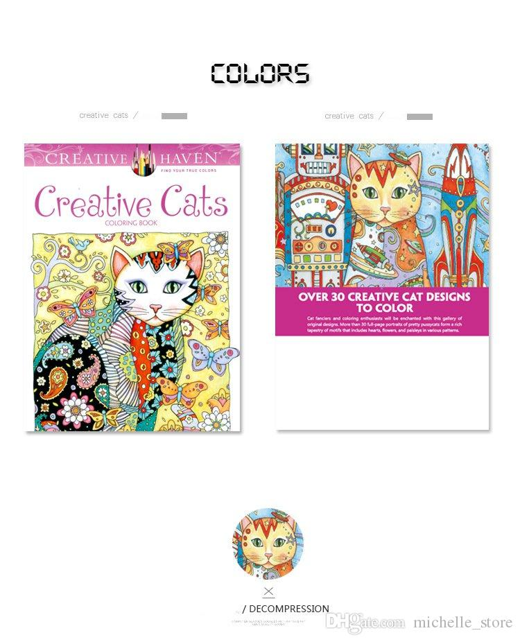 Creative Cats Coloring Books Adult Children Gifts 2017 New Arrival Secret Garden Series Painting Wholesale Decompression Drawing Book