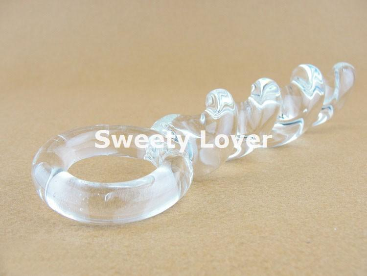 Free Shipping Glass Dildo New Spiral Shape Pyrex Crystal G-Spot Penis Glass Anal Dildo for Men and Women Retail 17901