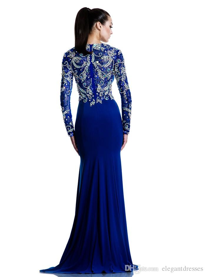 Royal Blue Mermaid Dubai Cape Abendkleid 2017 Party Sexy Langarm Saudi Arabisch Abendkleider Sweep Zug Formale Festzug Kleider