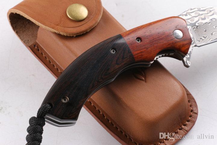 New Arrival VG10 Damascus Flipper Folding Knife 58HRC Ebony Handle EDC Pocket Knife Gift Knives Xmas Gift Genuine leather Sheath