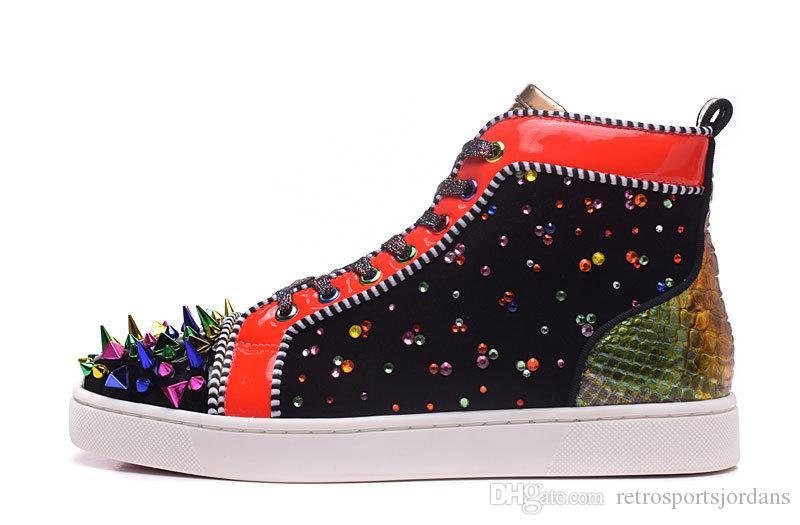Basses Multi Luxe Femmes Baskets Hautes Coupées Spikes Cuir Verni De Rouges En Designer Sport Strass Chaussures Colorées Pour Couleur kPiZXu