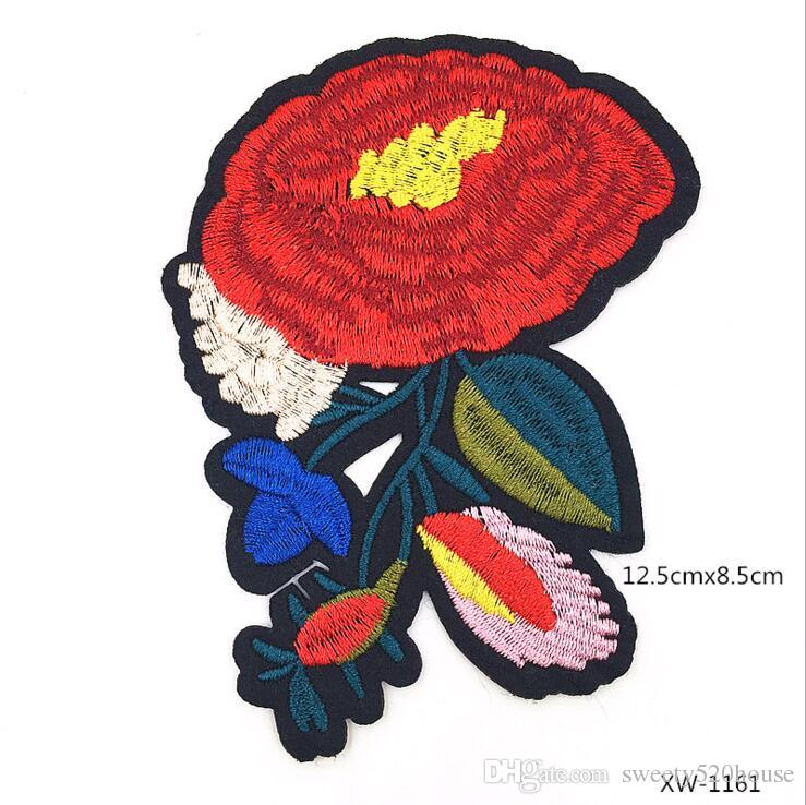 Four kinds of Top Patches Red Rose Flowers Patch 3D Sticker Embroidery Motif Sequined Applique Badge Children Women DIY Clothing Patch