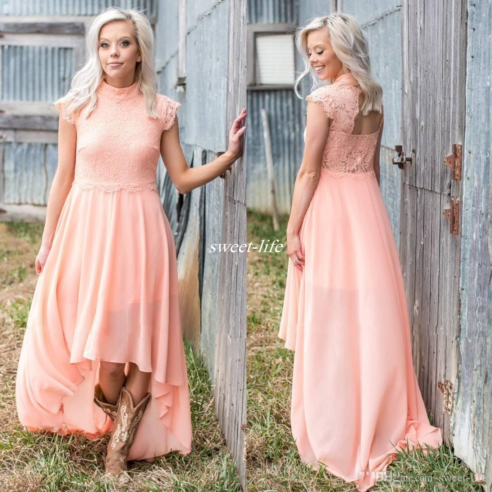 Country Bridesmaid Dresses: 2017 High Low Lace Country Bridesmaids Dresses High Neck