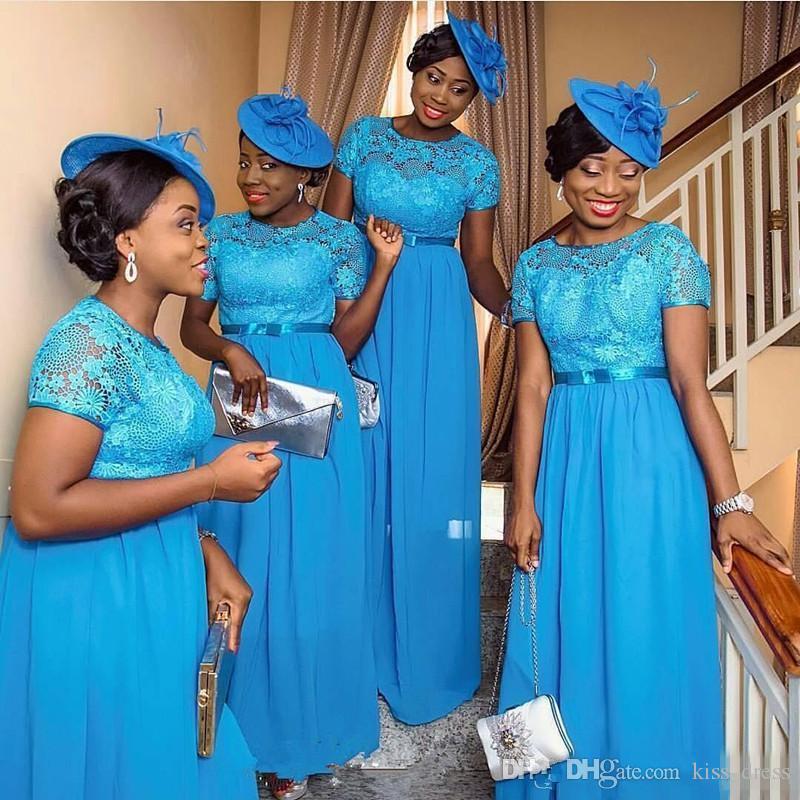 المبيعات الساخنة جديد الأزرق الشيفون طويلة وصيفة الشرف النيجيري نمط الطابق طول خط قصير كم الرباط الزفاف الحفلة الراقصة زائد الحجم b103