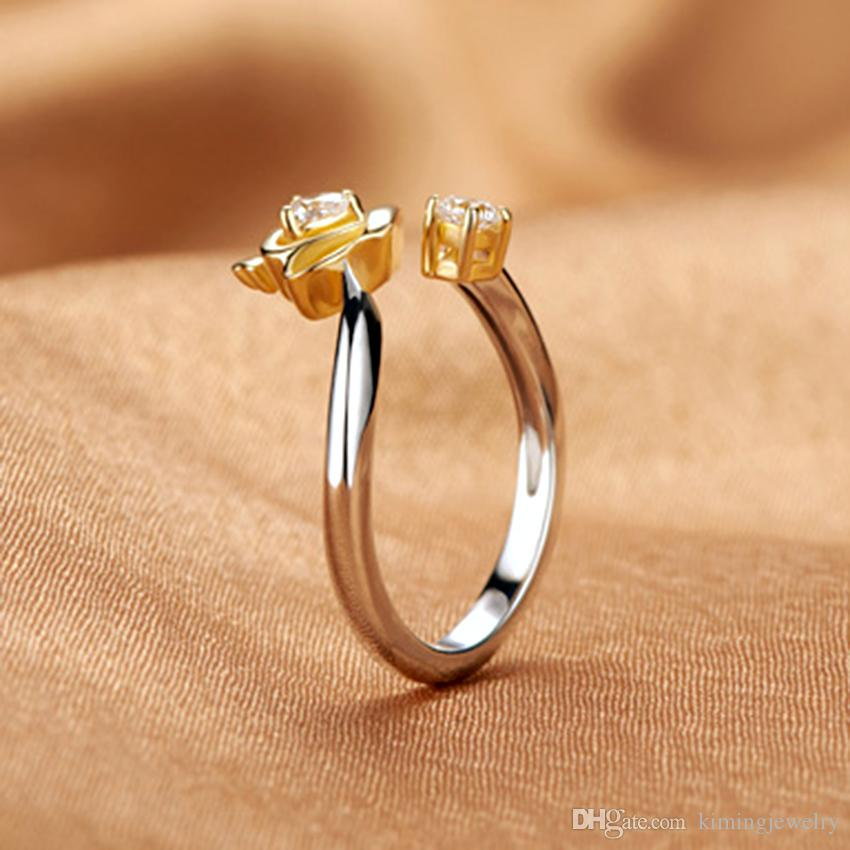New Arrivals Real Pure 925 Sterling Silver Rings For Women Girl Statement Jewelry Crystal Crown Rings Adjustable Open Rings