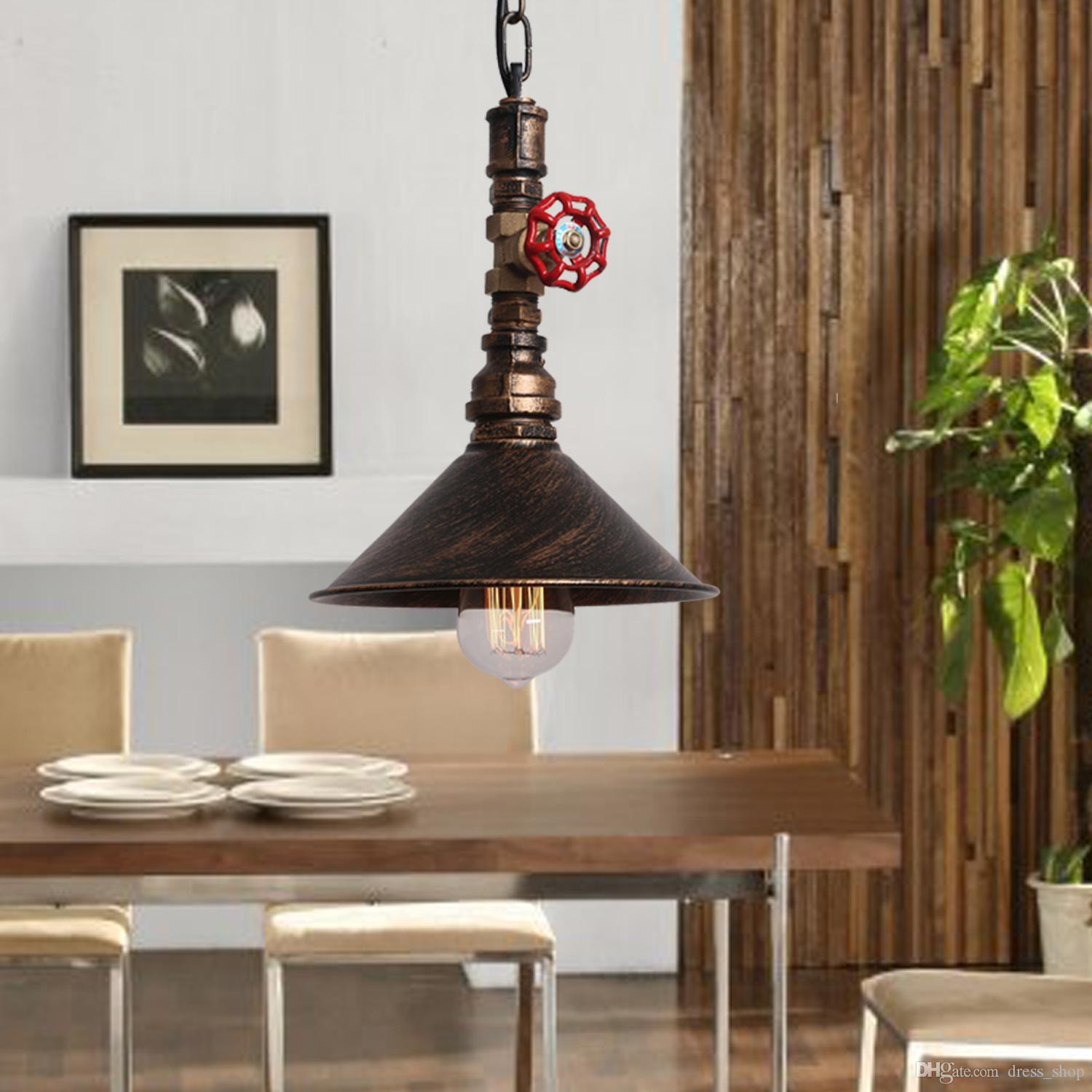 discount rustic industrial pendant lights vintage lamp suspension luminaire water pipe chain hanging light e27 220v for decor loft lamp lighting ceiling