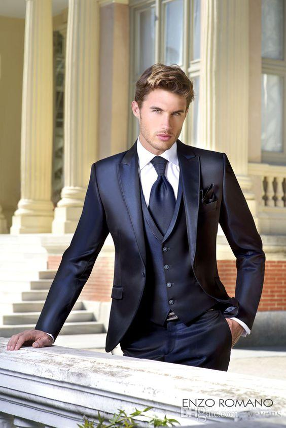 Cheap Dark Navy Wedding Tuxedos Slim Fit Suits For Men Jacket Vest And Pants Groom Men Suit Three Pieces Formal Suits With Tie Cheap Suits Formal Wear From