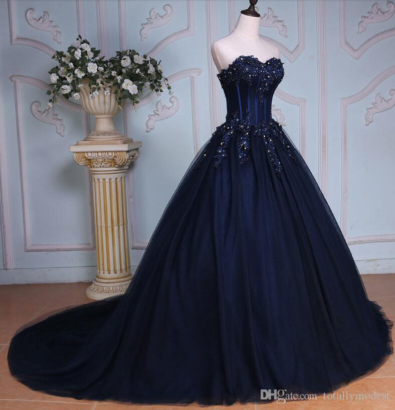 Navy Blue Ball Gown Long Colorful Wedding Dresses Sweetheart Beaded Lace Appliques Corset Non White Bridal Gowns Non Tradiitional Beautiful Wedding