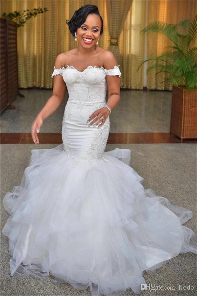 Delicate Off Shoulder Beade Lace Mermaid African Wedding Dresses ...