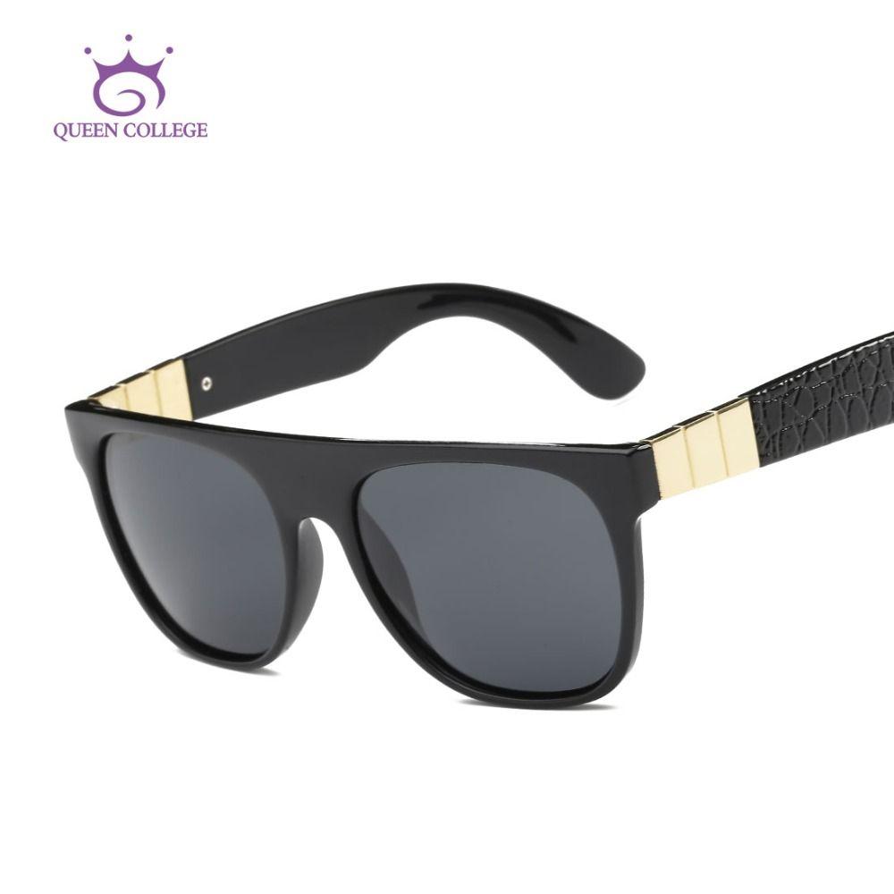 a46b88e3fd1 Wholesale- Queen College Polarized Sunglasses Men Vintage Brand ...