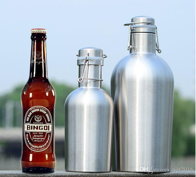 DHL Bier Growler 32OZ 64OZ Edelstahl Growler mit sicheren Swing Top Deckel für Frische - Beste für Craft Beer Layer Wärmedämmung