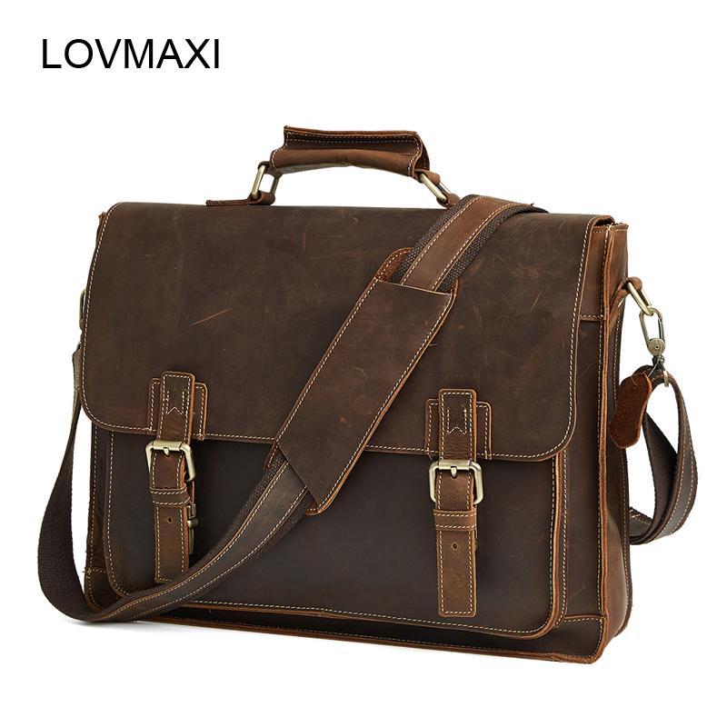 Men's Genuine Leather Briefcases Men Vintage Crazy Horse Leather Business Crossbody Bags Large Handbags Messenger Bag Travel Bag