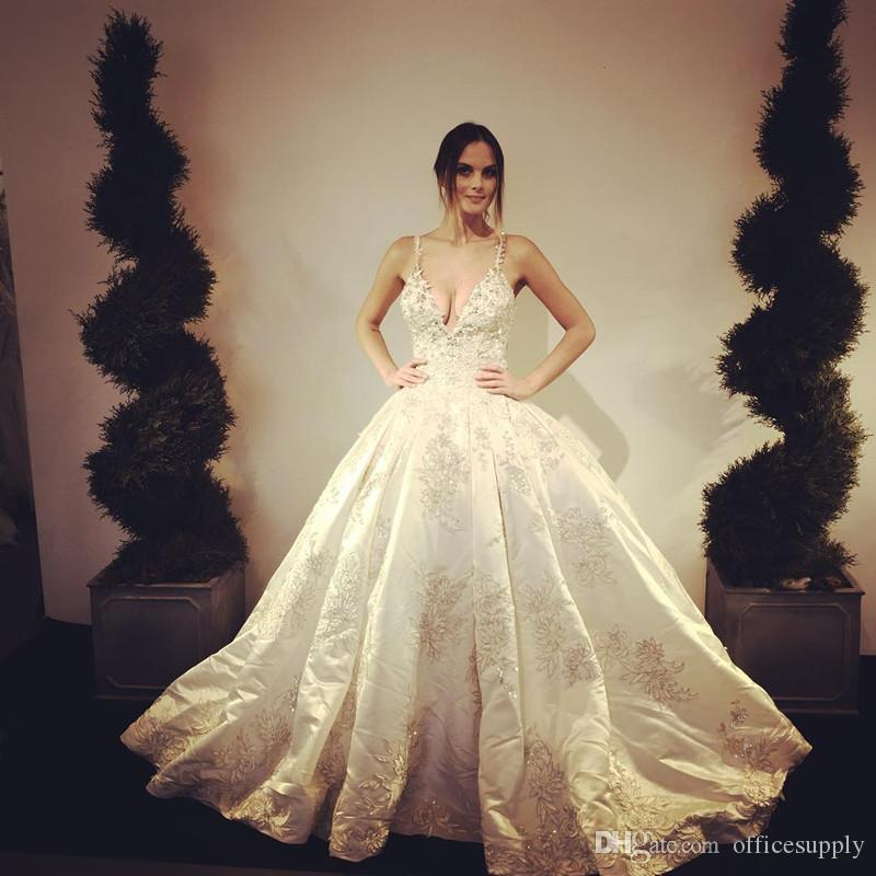500424ce1d74 2017 Sexy Stunnin Gothic Lace Appliques Ball Gown Wedding Dresses Spaghetti  V Neck Backless Floor Length Bride Gown Wedding Dresses China Wedding  Dresses ...