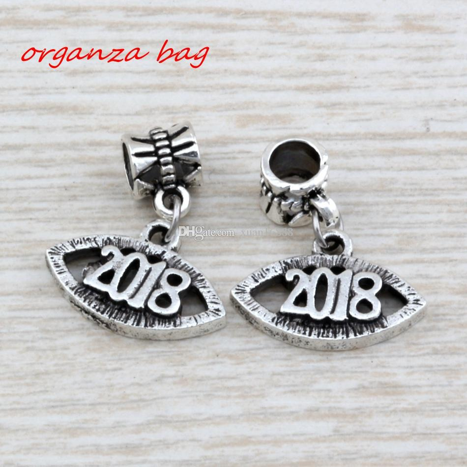 """Hot ! Antique silver Alloy """" 2018 """"Charms Bead Fit Charm Bracelet 19.5x 24.5mm DIY Jewelry"""