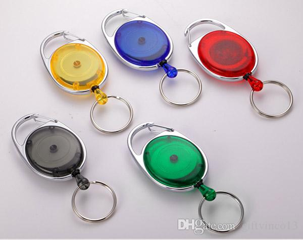 Новый мини Практические кольца для ключей Badge разбрасыватель Выдвижной Reel ремень Зажим для ремня Key Chain омаров Застежка кольцо Очистить цвета Оптовая 100шт