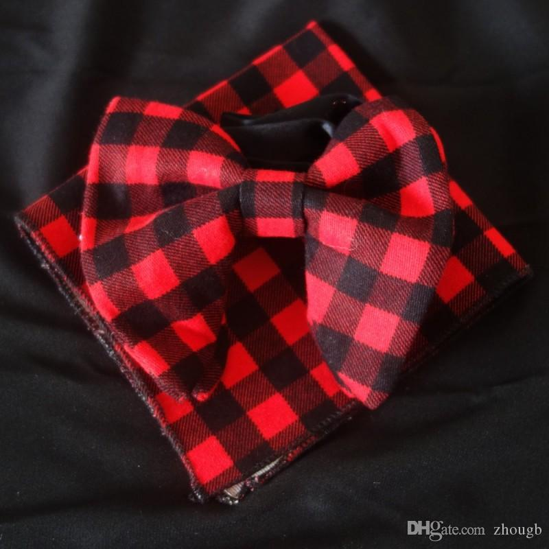 Wedding Black Red cotton Bowties with Matching hankie Mens Unique Tuxedo cotton Bowtie Bow Tie Hankie Set Necktie Set