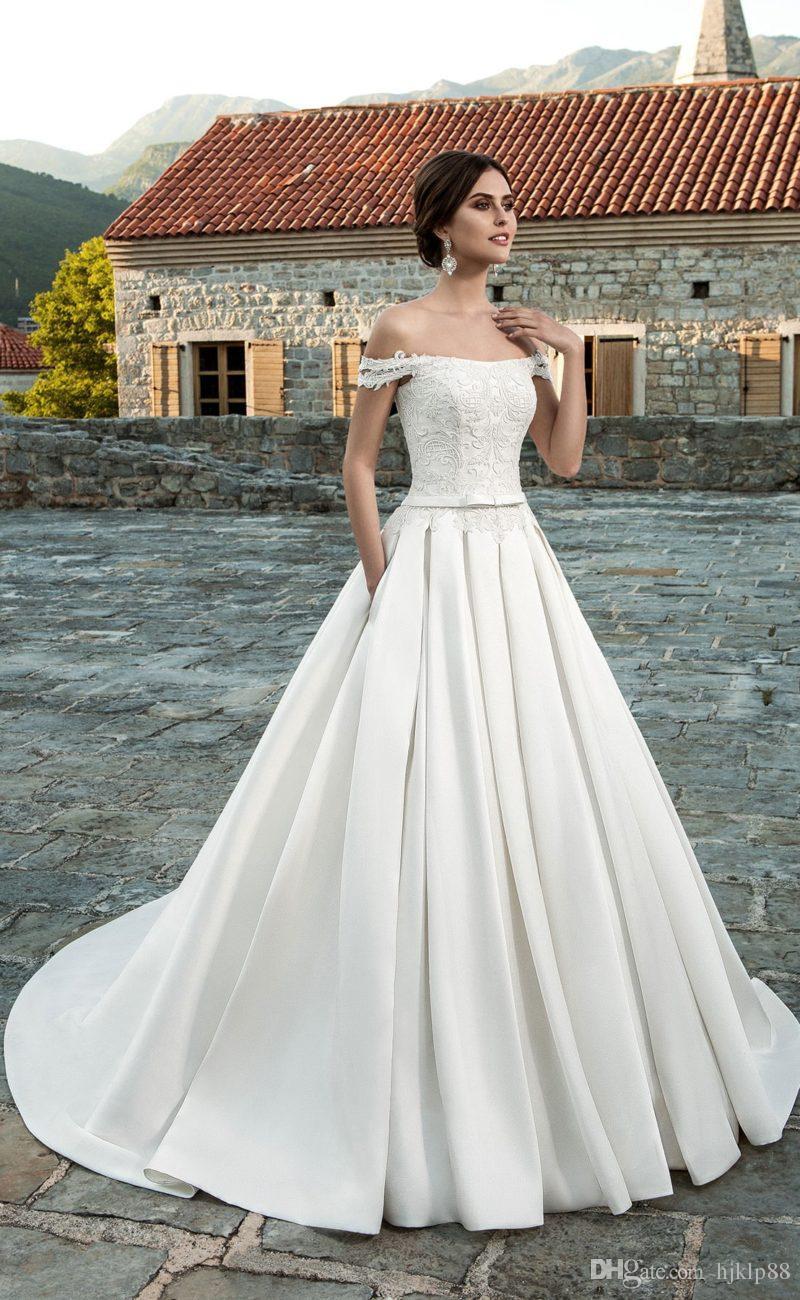 Discount New Arrival A Line Off Shoulder Lace Wedding Dresses Satin ...