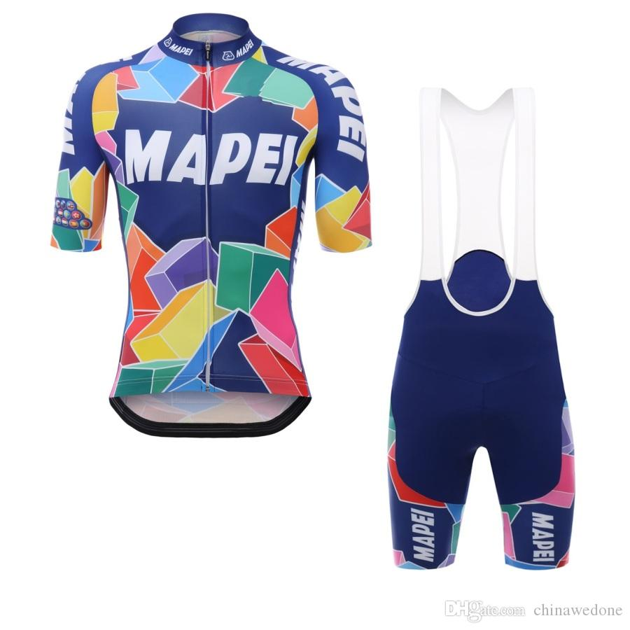 2017 pro team MAPEI mens summer cycling jerseys short-sleeve QuickDry bike clothing race MTB ropa ciclismo maillot GEL pad bib shorts