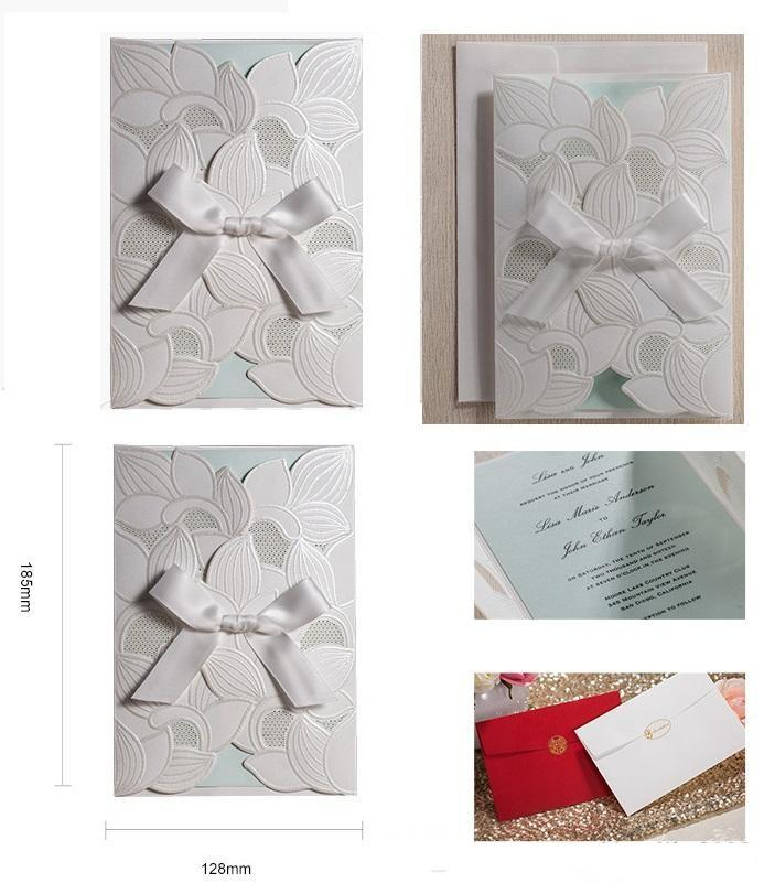 Hot selling Ivory Wedding Invitations cards Personalized White Wedding Invitation Cards with newest designs DHL in low price