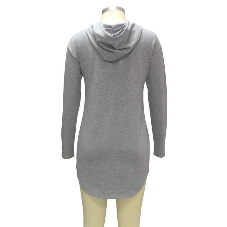 Kadın Bahar Sonbahar Gri Uzun Hoodie Elbise Uzun Kollu Cepler Rahat Gevşek Kapüşonlu Tişörtü Kazaklar Sudaderas Mujer DHL 171008