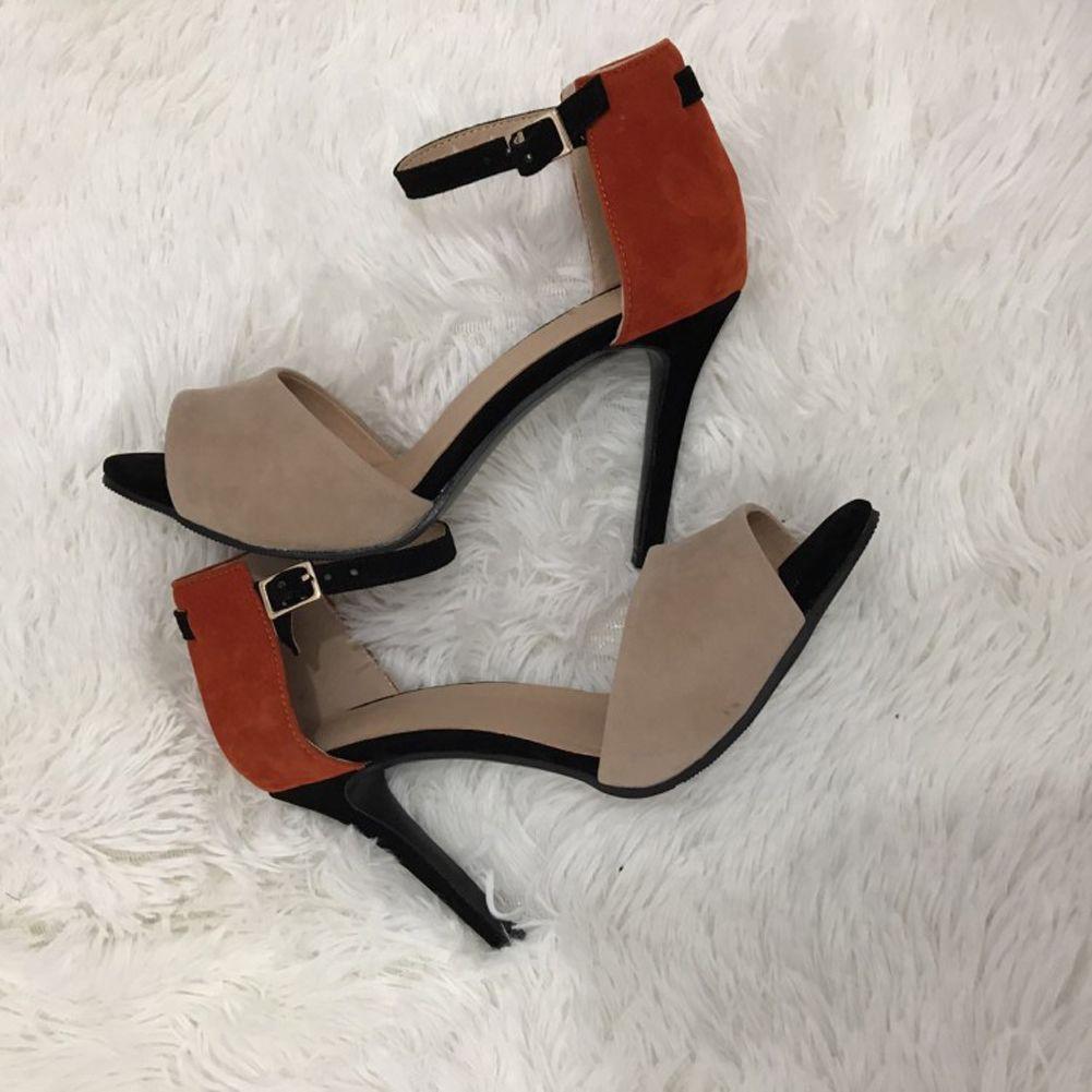 Kolnoo 여자 손으로 만든 여러 가지 빛깔의 들여다보기 발 뒤꿈치 발목 스트랩 드레스 샌들 여름 섹시한 캐주얼 신발 혼합 XD353
