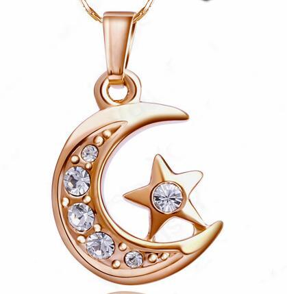 Luxury Crescent Diamond Pendant Necklace 18K Gold Plated Cubic Alloy Crystal Moon Star Jewelry Fashion Women Accessories Perfect Gift