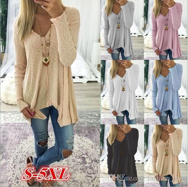 c1028954eade7 2019 Sweaters Plus Size Winter Blouse Knitted Knitwear Long Sleeve Coats  Outwear Fashion Casual Cardigan Pullover Jumper Women S Clothing B3655 From  ...