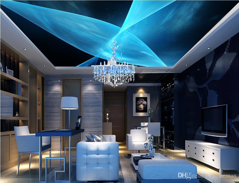 Papel pintado murales del techo del estilo europeo Líneas dinámicas azules fondos de pantalla del techo estereoscópico 3d abstractos para el papel pintado de la foto de la sala de estar