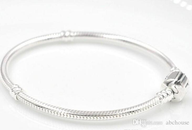 925 Silber überzogene Armband-Schlangenkette mit Fass-Haken-gepaßten europäischen Kornen für Pandora-Armbänder mit ohne Firmenzeichen DIY geben Verschiffen frei