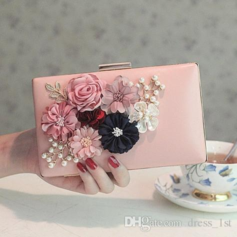 Frische Romantische 2017 Neueste Blumen Perlen Frauen Clutch Handtaschen Für Party Pom Abend Günstige Weiß Rosa Braut Taschen EN12191
